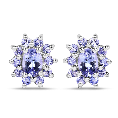 Earrings-1.58 Carat Genuine Tanzanite .925 Sterling Silver Earrings