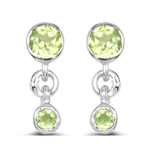 Peridot-0.62 Carat Genuine Peridot .925 Sterling Silver Earrings
