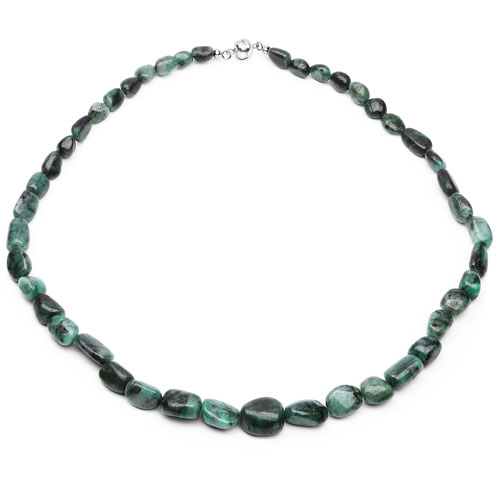 Emerald-372.00 Carat Genuine Emerald .925 Sterling Silver Beads Necklace