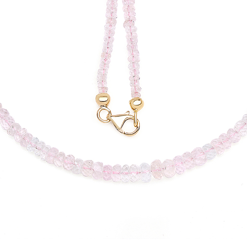 Necklaces-14K Yellow Gold Plated 60.00 Carat Genuine Morganite .925 Sterling Silver Necklace