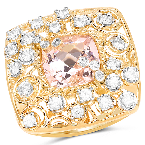 Rings-14K Yellow Gold Plated 3.33 Carat Synthartic Morganite and White Topaz .925 Sterling Silver Ring