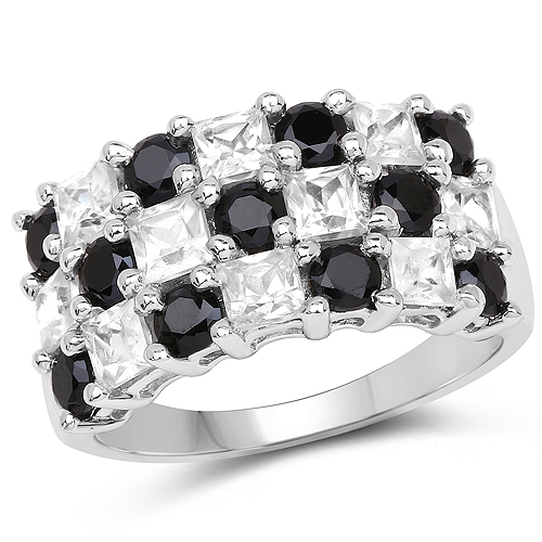 Rings-3.23 Carat Genuine White Topaz and Black Spinel .925 Sterling Silver Ring