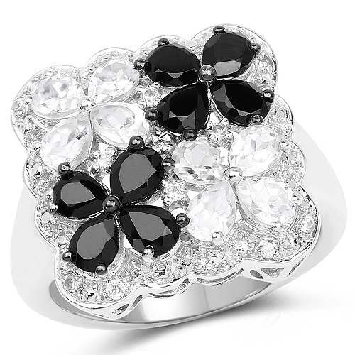 Rings-2.88 Carat Genuine White Topaz and Black Spinel .925 Sterling Silver Ring