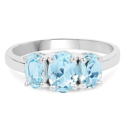 1.97 Carat Genuine Blue Topaz .925 Sterling Silver Ring