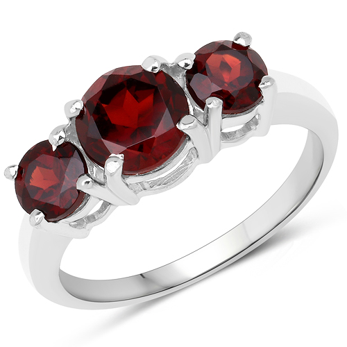 Garnet-2.80 Carat Genuine Garnet .925 Sterling Silver Ring