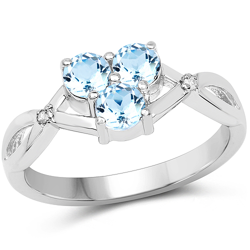 0.97 Carat Genuine Blue Topaz and White Diamond .925 Sterling Silver Ring