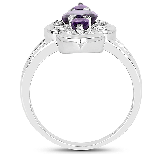 1.58 Carat Genuine Amethyst and White Diamond .925 Sterling Silver Ring