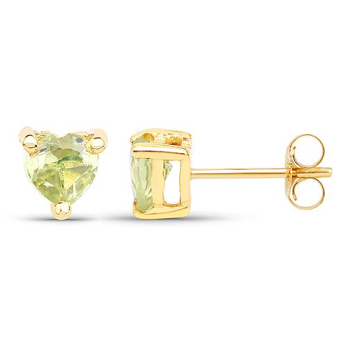 0.50 Carat Genuine Peridot 10K Yellow Gold Earrings