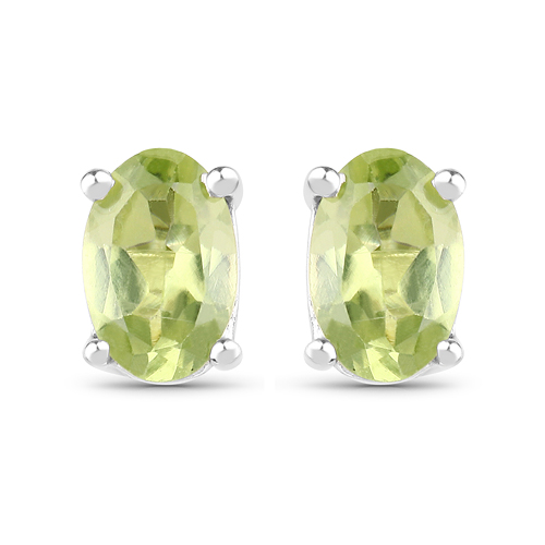 Peridot-0.96 Carat Genuine Peridot .925 Sterling Silver Earrings