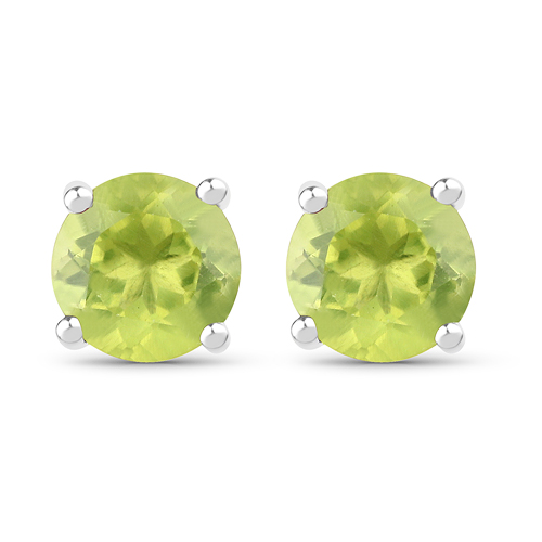 Peridot-1.71 Carat Genuine Peridot .925 Sterling Silver Earrings