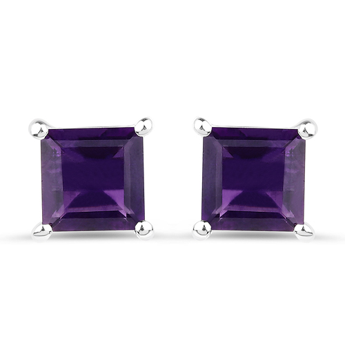 Amethyst-2.25 Carat Genuine Amethyst .925 Streling Silver Earrings