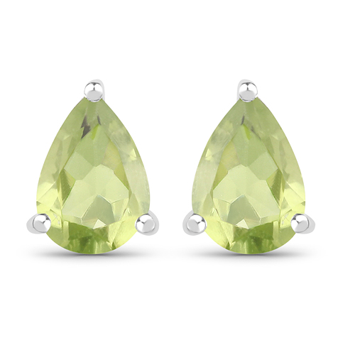 Peridot-1.37 Carat Genuine Peridot .925 Sterling Silver Earrings