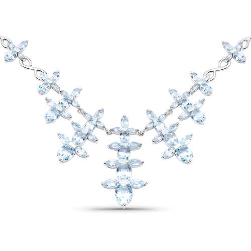 Necklaces-25.15 Carat Genuine Blue Topaz .925 Sterling Silver Necklace