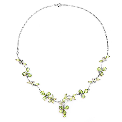 17.24 Carat Genuine Peridot .925 Sterling Silver Necklace