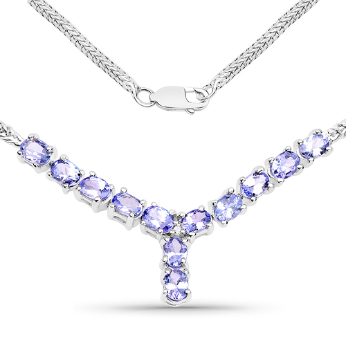 Tanzanite-2.05 Carat Genuine Tanzanite and White Diamond .925 Sterling Silver Necklace