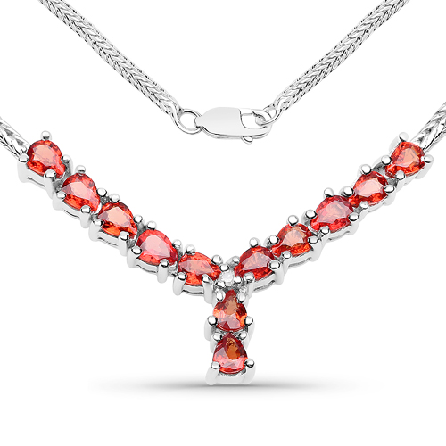 Sapphire-1.81 Carat Genuine Orange Sapphire and White Diamond .925 Sterling Silver Necklace