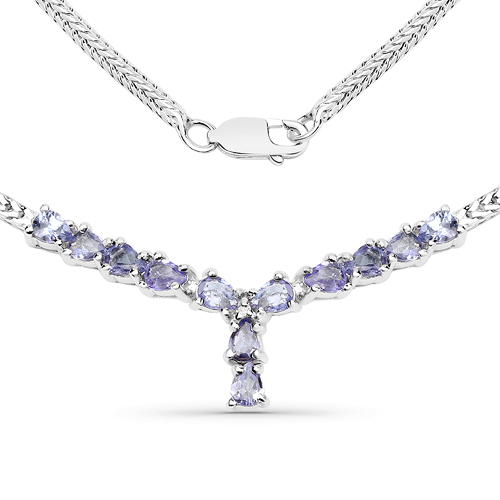 Tanzanite-1.69 Carat Genuine Tanzanite and White Diamond .925 Sterling Silver Necklace