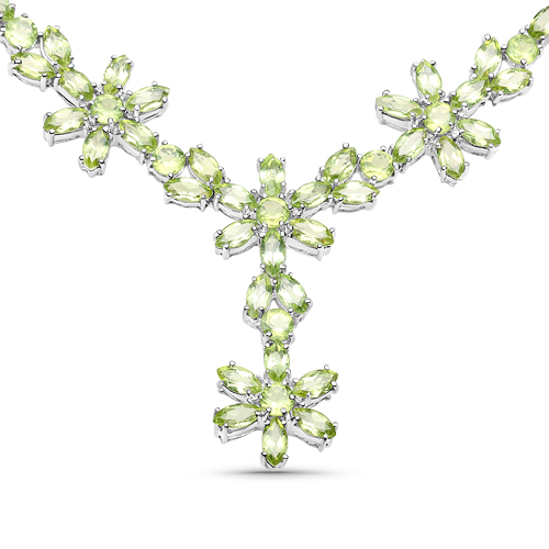 Peridot-40.56 Carat Genuine Peridot .925 Sterling Silver Necklace
