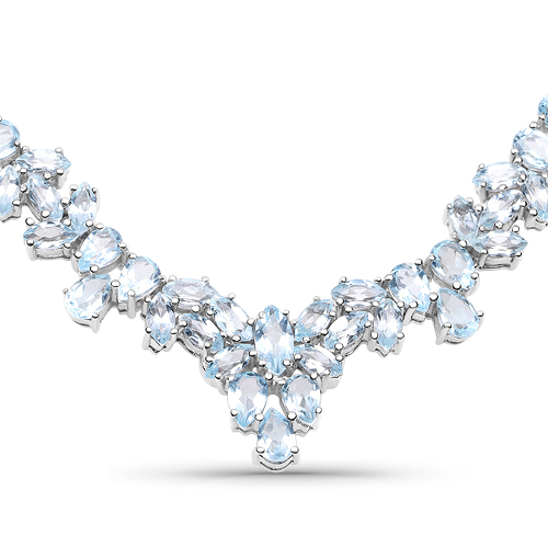 Necklaces-56.18 Carat Genuine Blue Topaz .925 Sterling Silver Necklace