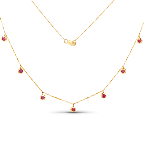 Ruby-1.17 Carat Genuine Ruby 10K Yellow Gold Necklace