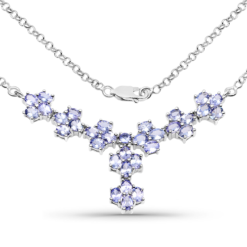 Tanzanite-5.54 Carat Genuine Tanzanite .925 Sterling Silver Necklace