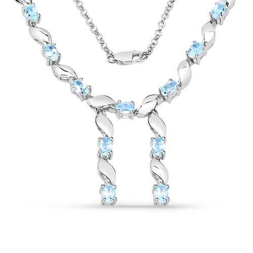 Necklaces-7.65 Carat Genuine Blue Topaz .925 Sterling Silver Necklace