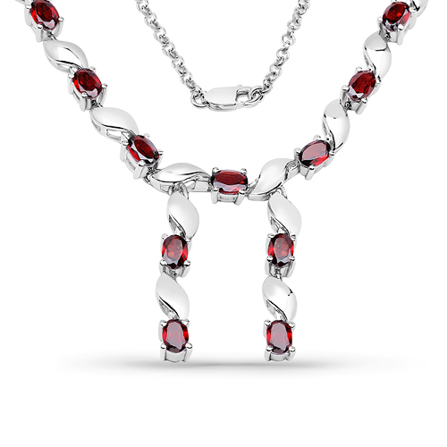 Garnet-7.65 Carat Genuine Garnet .925 Sterling Silver Necklace
