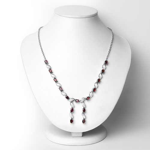 7.65 Carat Genuine Garnet .925 Sterling Silver Necklace