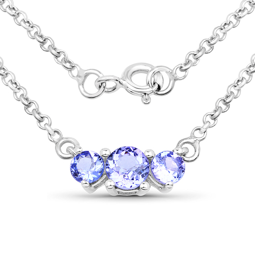 0.93 Carat Genuine Tanzanite .925 Sterling Silver Necklace