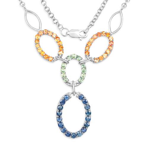 4.16 Carat Genuine Multi Sapphire .925 Sterling Silver Necklace