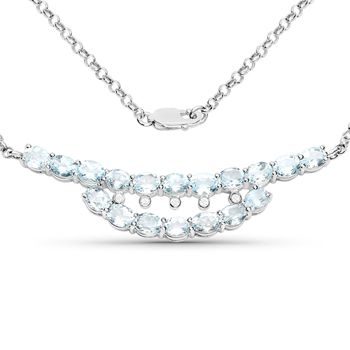 Necklaces-6.51 Carat Genuine Blue Topaz and White Topaz .925 Sterling Silver Necklace