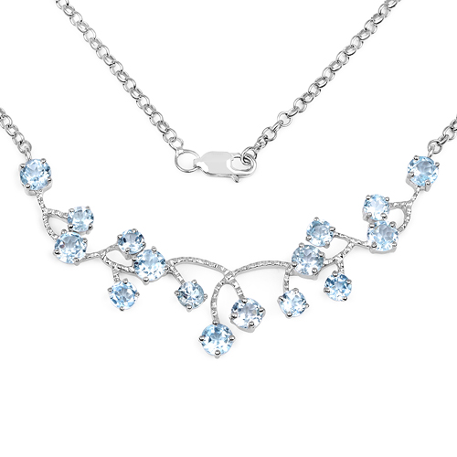 Necklaces-7.36 Carat Genuine Blue Topaz .925 Sterling Silver Necklace