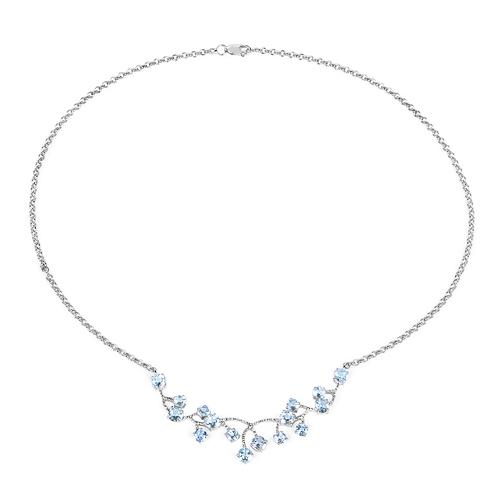 7.36 Carat Genuine Blue Topaz .925 Sterling Silver Necklace