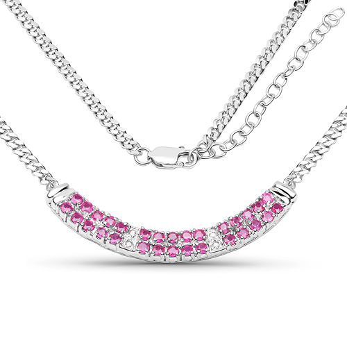 Ruby-2.28 Carat Genuine Ruby and White Diamond .925 Sterling Silver Necklace