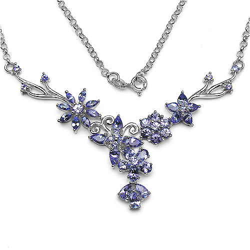 5.30 Carat Genuine Tanzanite .925 Sterling Silver Necklace