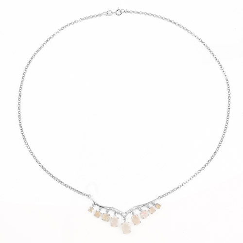 2.35 Carat Genuine Ethiopian Opal and White Diamond .925 Sterling Silver Necklace