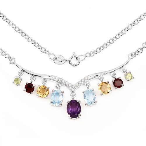 4.90 Carat Genuine Multi Stone .925 Sterling Silver Necklace