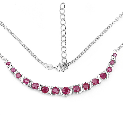 Ruby-5.09 Carat Genuine Ruby and White Diamond .925 Sterling Silver Necklace