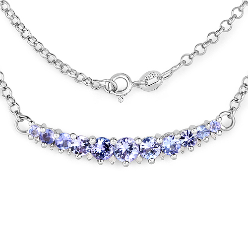 2.49 Carat Genuine Tanzanite and White Diamond .925 Sterling Silver Necklace