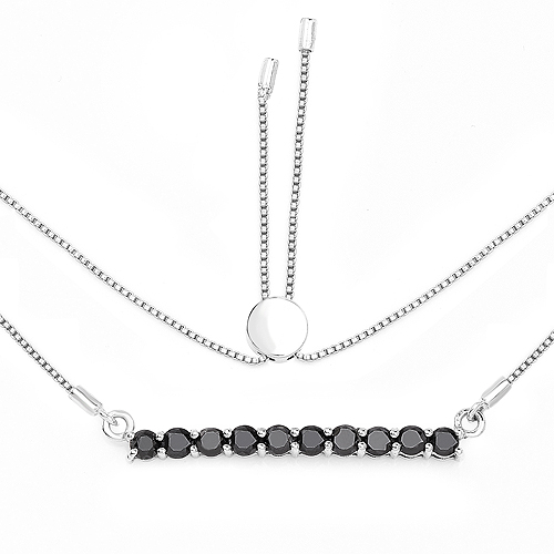 Diamond-1.47 Carat Genuine Black Diamond .925 Sterling Silver Necklace