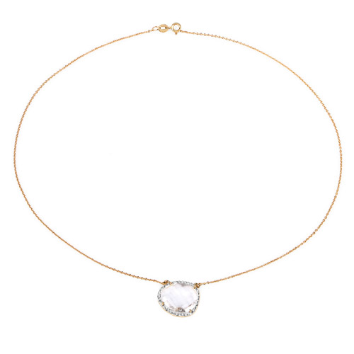 14K Yellow Gold Plated 9.68 Carat Genuine Crystal Quartz and White Topaz .925 Sterling Silver Necklace
