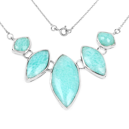 Necklaces-39.35 Carat Genuine Amazonite .925 Sterling Silver Necklace
