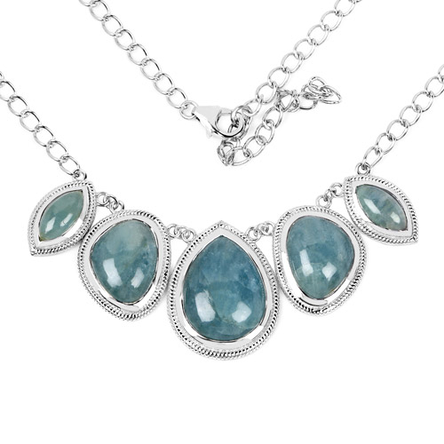 Necklaces-31.15 Carat Genuine Aquamarine .925 Sterling Silver Necklace