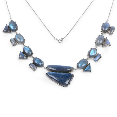 Necklaces-63.45 Carat Genuine Labradorite .925 Sterling Silver Necklace