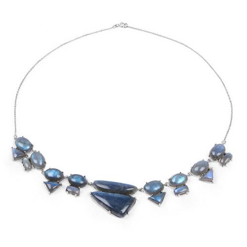 63.45 Carat Genuine Labradorite .925 Sterling Silver Necklace