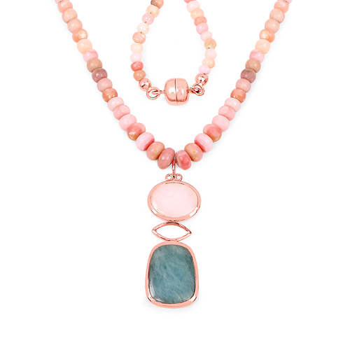 Necklaces-14K Rose Gold Plated 92.39 Carat Genuine Milky Aquamarine & Pink Opal .925 Sterling Silver Necklace
