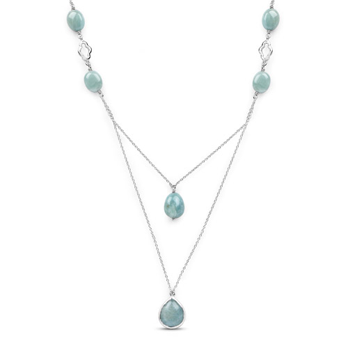 Necklaces-29.04 Carat Genuine Aquamarine .925 Sterling Silver Necklace