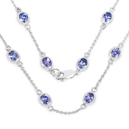 5.94 Carat Genuine Tanzanite .925 Sterling Silver Necklace