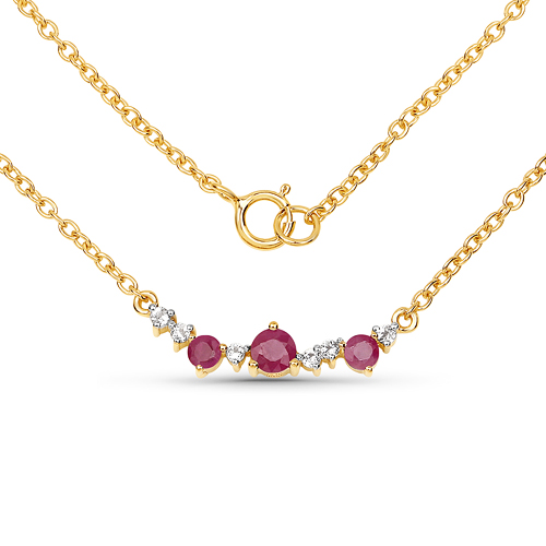 Ruby-18K Yellow Gold Plated 0.51 Carat Genuine Ruby and White Topaz .925 Sterling Silver Necklace
