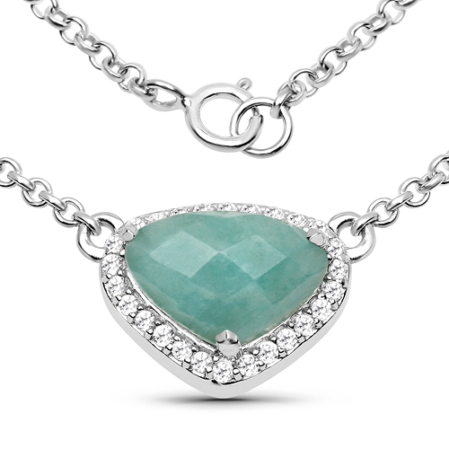 3.38 Carat Genuine Amazonite and White Topaz .925 Sterling Silver Necklace